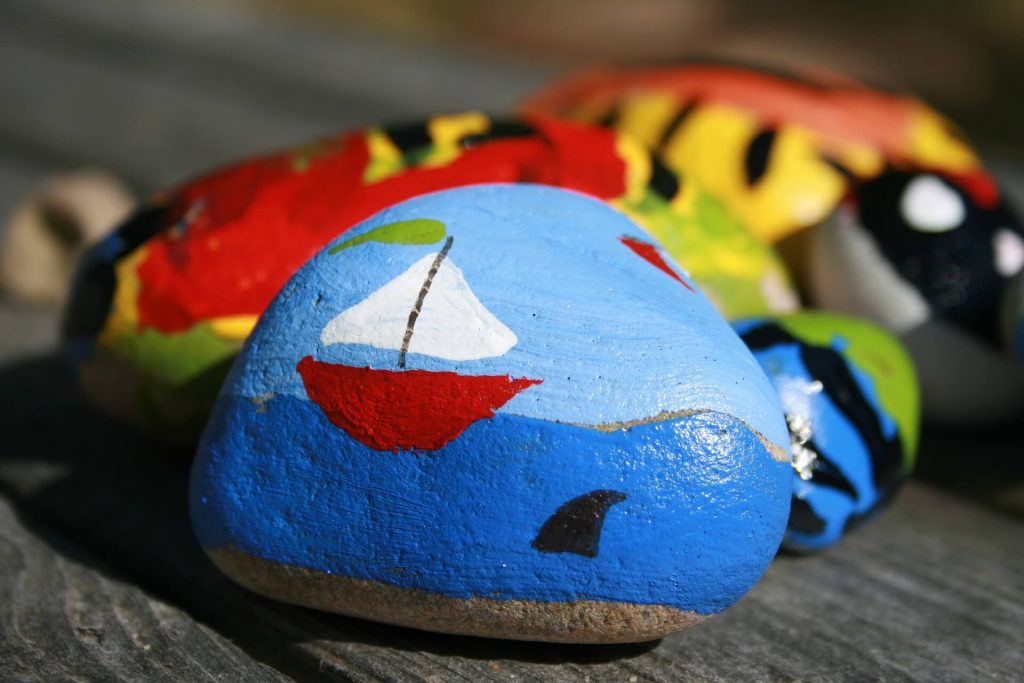 some painted rocks